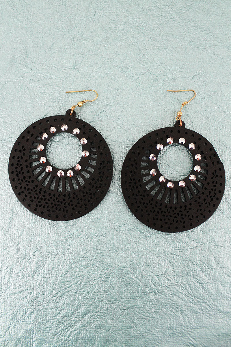 Crystal Accented Black Filigree Wood Disk Earrings