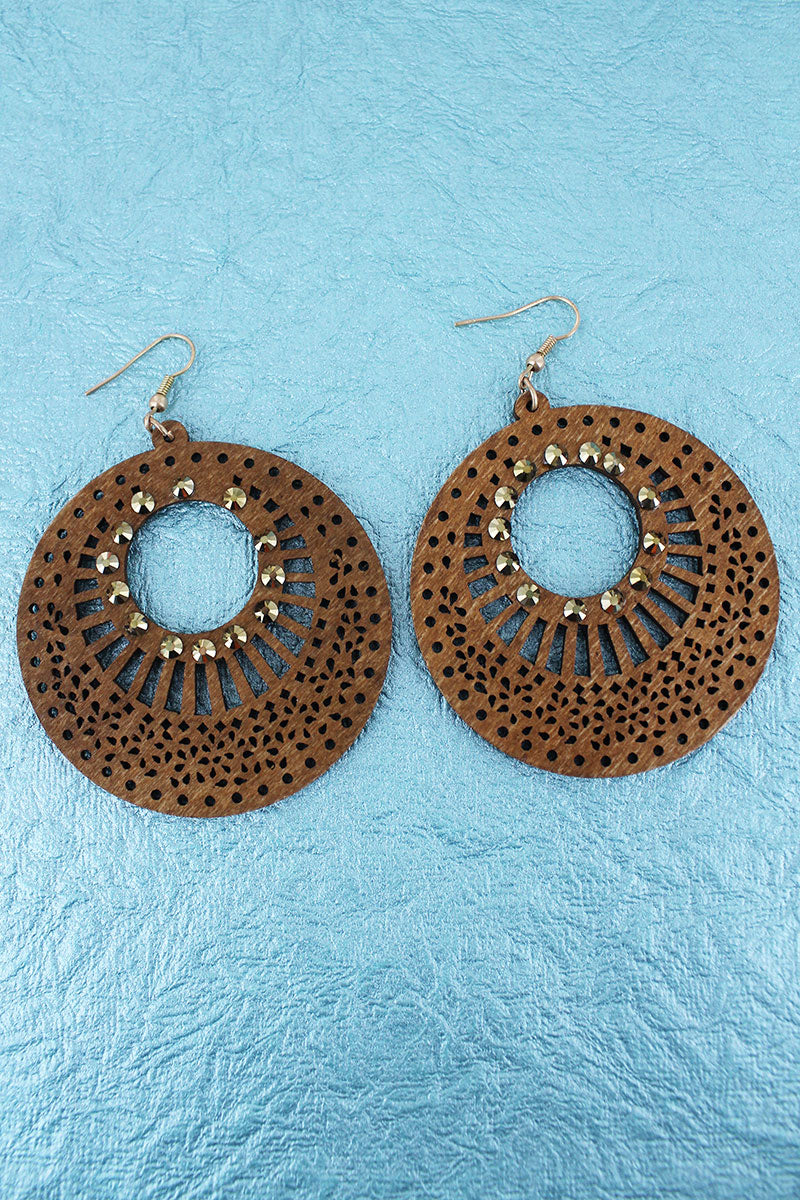 Crystal Accented Light Brown Filigree Wood Disk Earrings