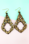 Crystal Accented Brown Wood Moroccan Teardrop Earrings