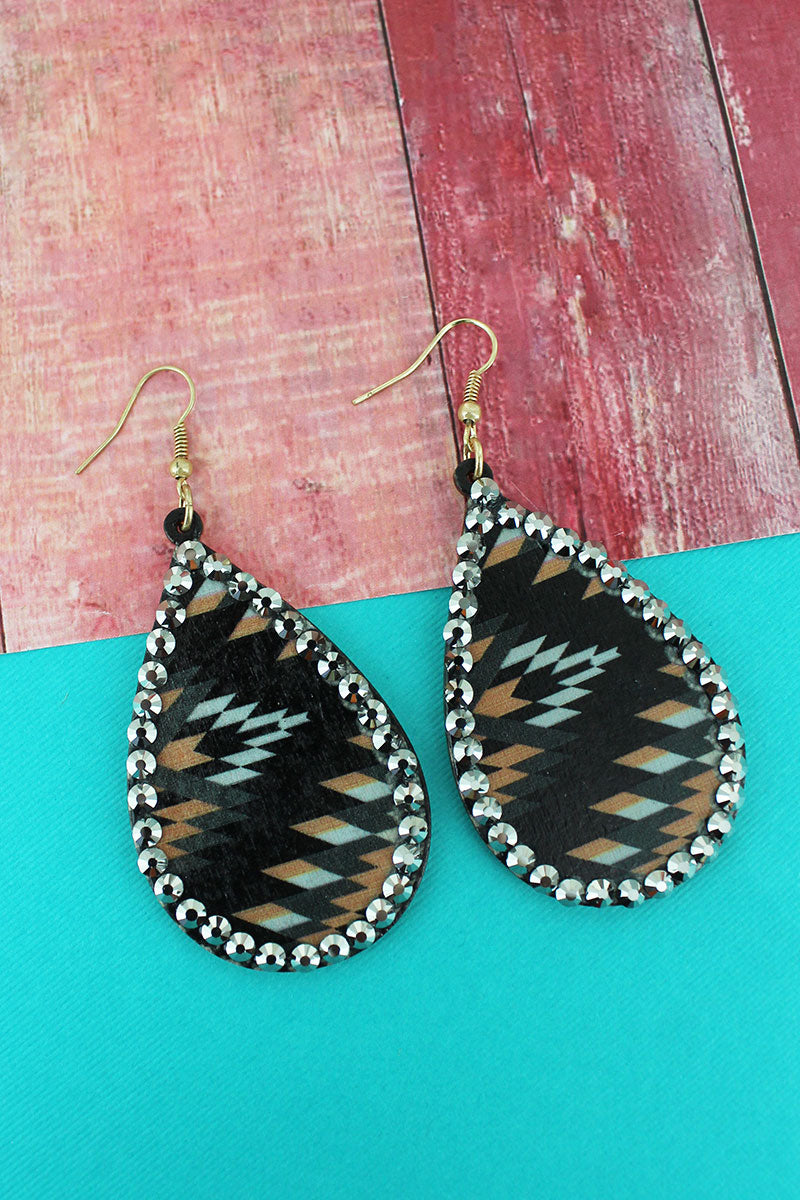Crystal Trimmed Black Southwestern Wood Teardrop Earrings