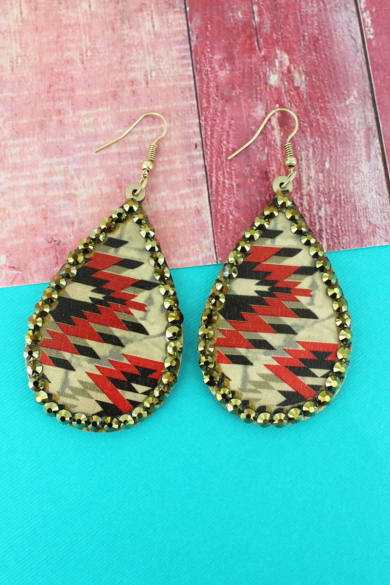 Crystal Trimmed Natural Southwestern Wood Teardrop Earrings