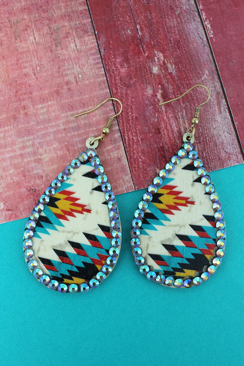 Crystal Trimmed Ivory Southwestern Wood Teardrop Earrings