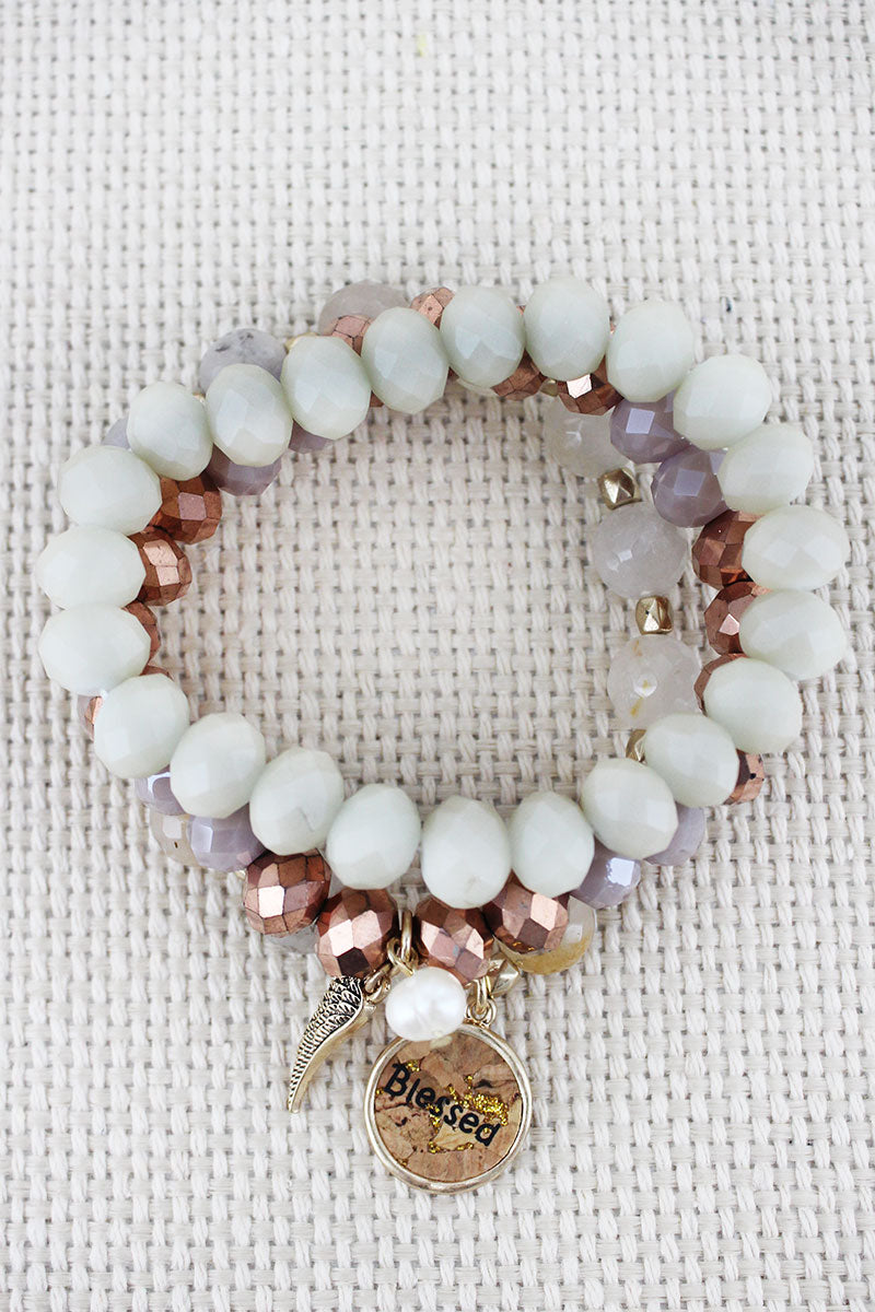 Cork 'Blessed' and Wing Charm Peach Beaded Bracelet Set