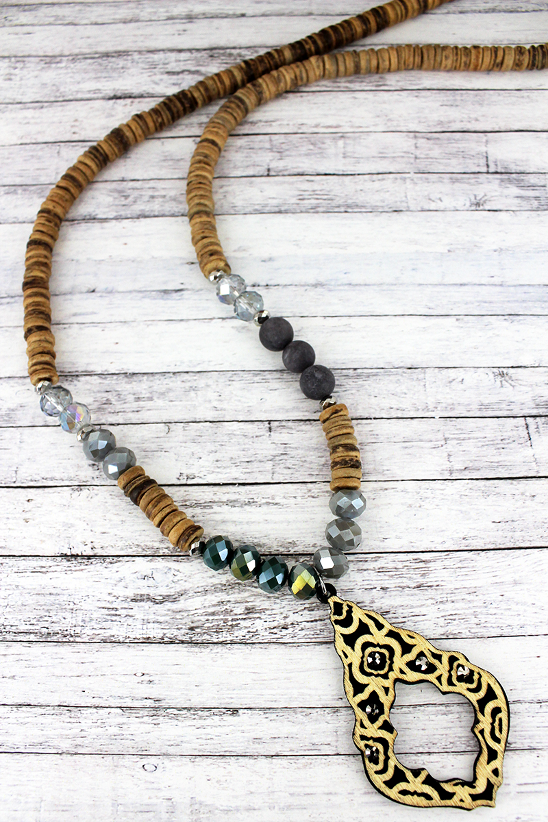 Crystal Accented Black Wood Moroccan Teardrop Beaded Necklace