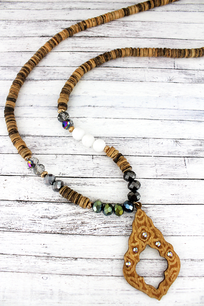 Crystal Accented Light Brown Wood Moroccan Teardrop Beaded Necklace