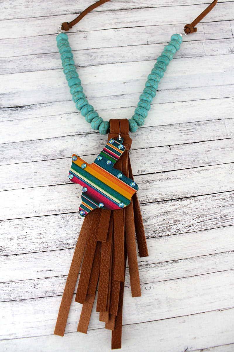 Crystal Serape Texas Tassel Pendant Turquoise Beaded Cord Necklace