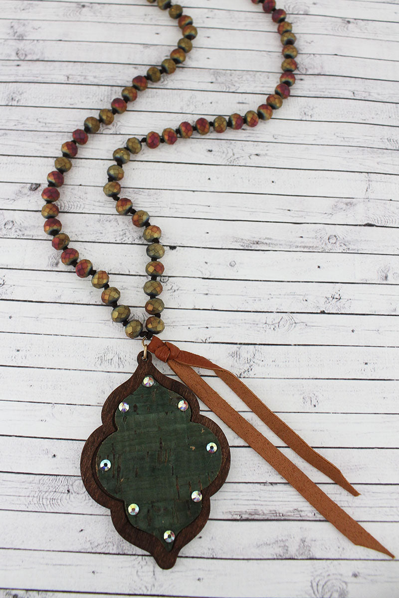Crystal Accented Green Cork and Wood Moroccan Beaded Necklace