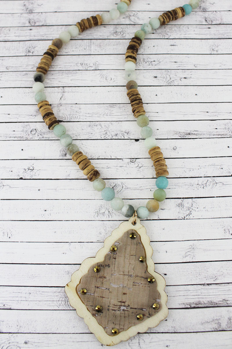Crystal Accented Cream Cork and Wood Moroccan Teardrop Beaded Necklace