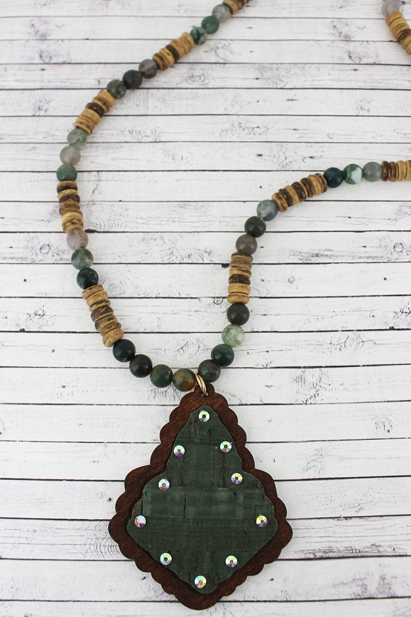 Crystal Accented Green Cork and Wood Moroccan Teardrop Beaded Necklace