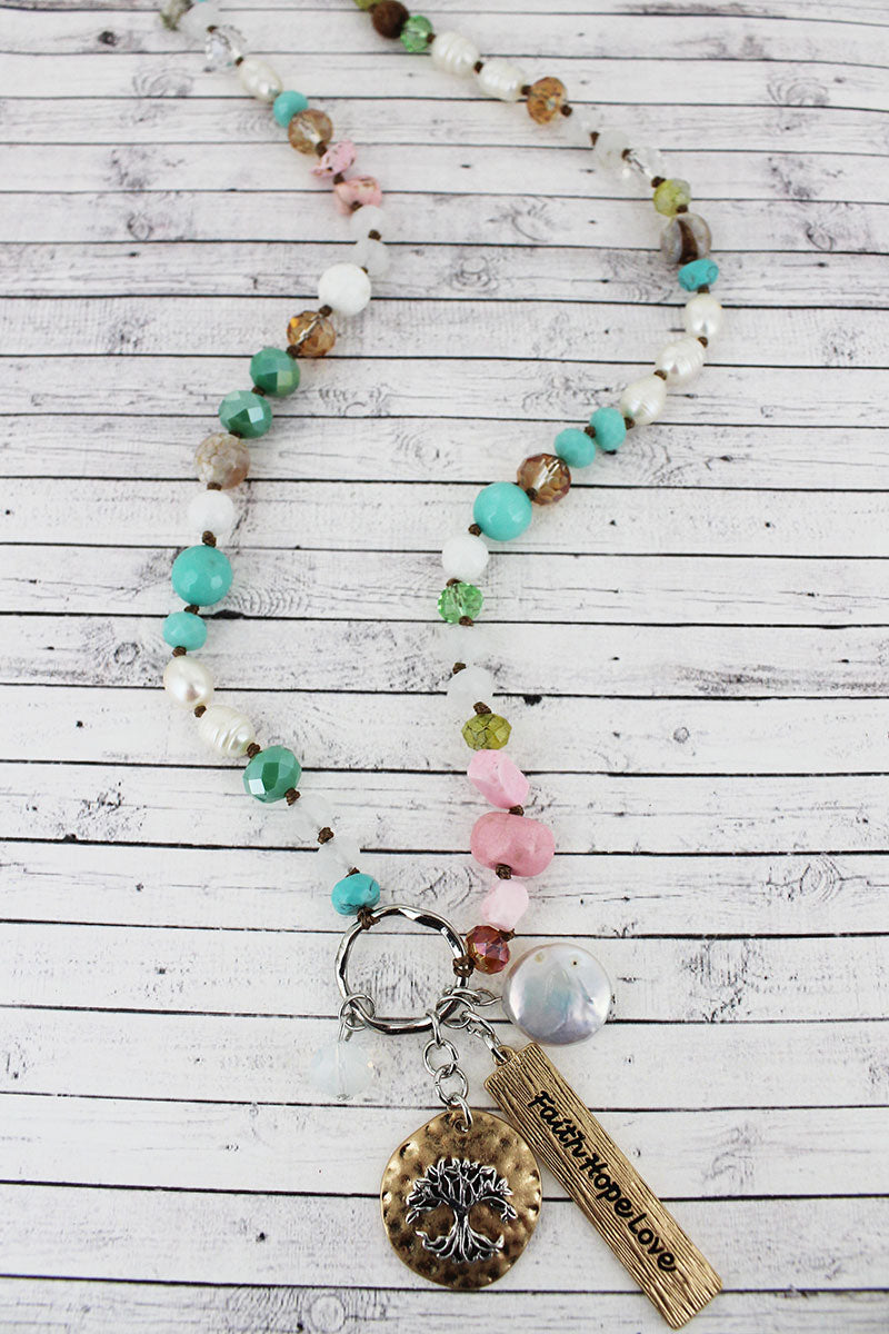 Two-Tone 'Faith Hope Love' Tree Cluster Pendant Mixed Bead Necklace