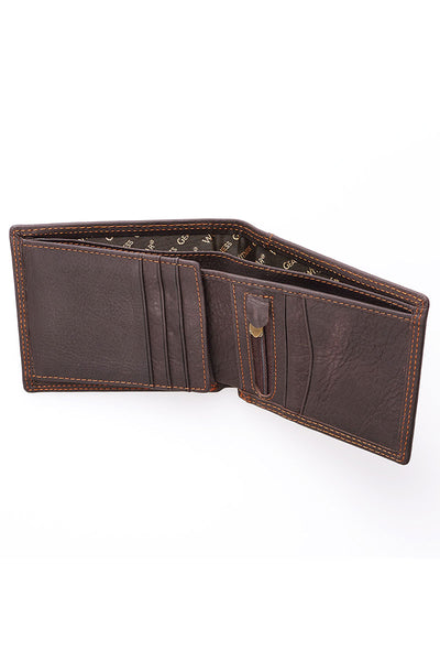 Strong and Courageous Brown Genuine Leather Bi-Fold Wallet in Gift Tin