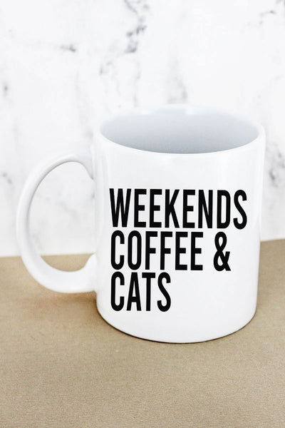 Weekends Coffee Cats White Mug