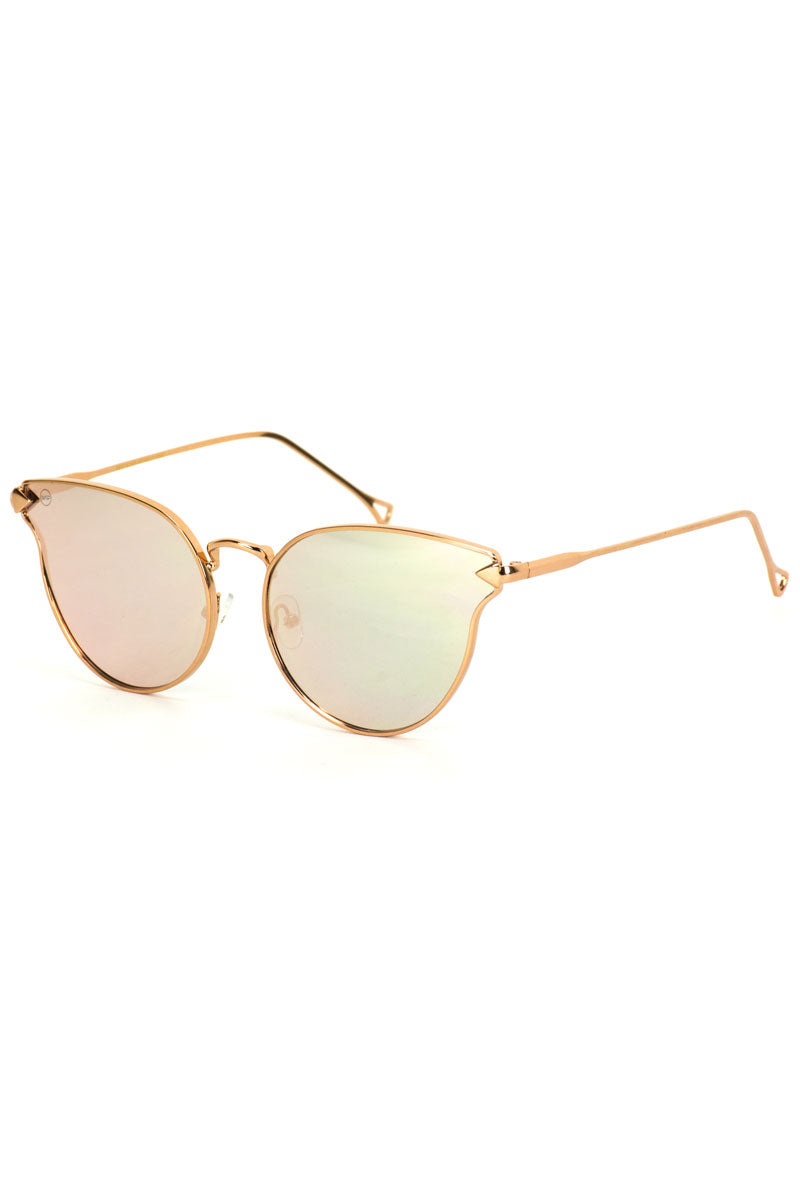 Pink Mirror Lens Cat Eye Sunglasses