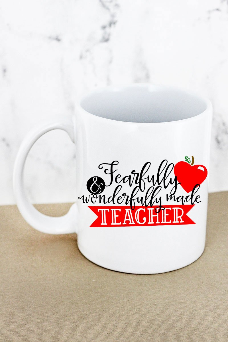Wonderfully Made Teacher White Mug