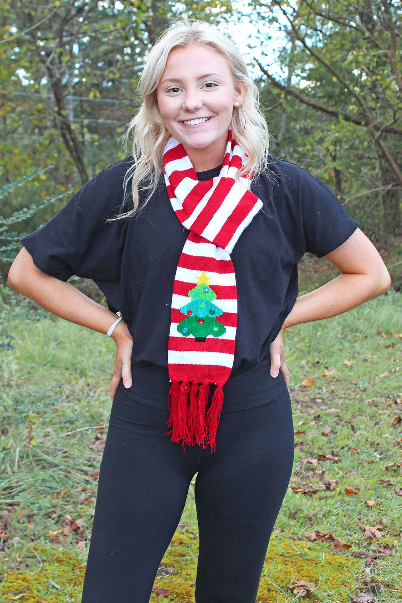 Christmas Tree Flashing Holiday Knit Scarf
