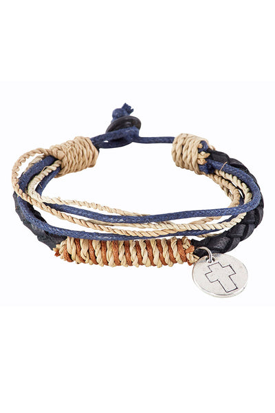 One Cross Disk Charm Multi-Strand Toggle Bracelet - SHIPS ASSORTED