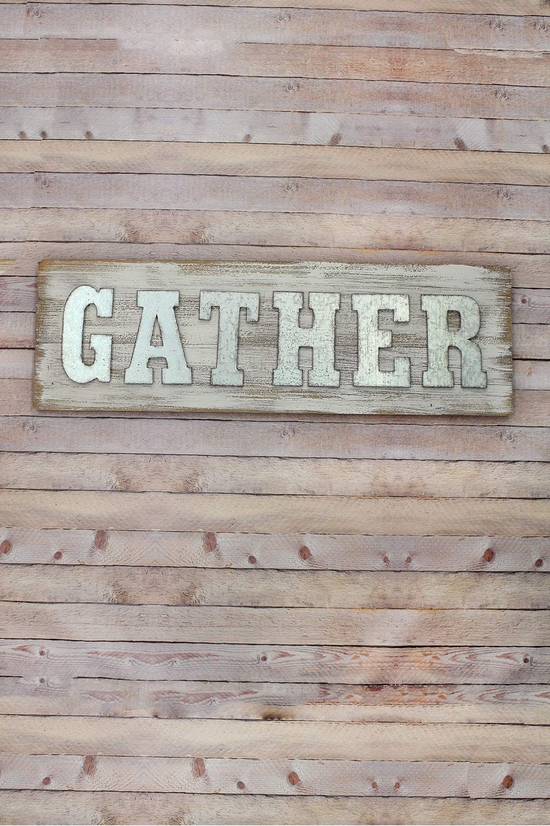12.5 x 39.5 'Gather' Metal and Wood Wall Sign