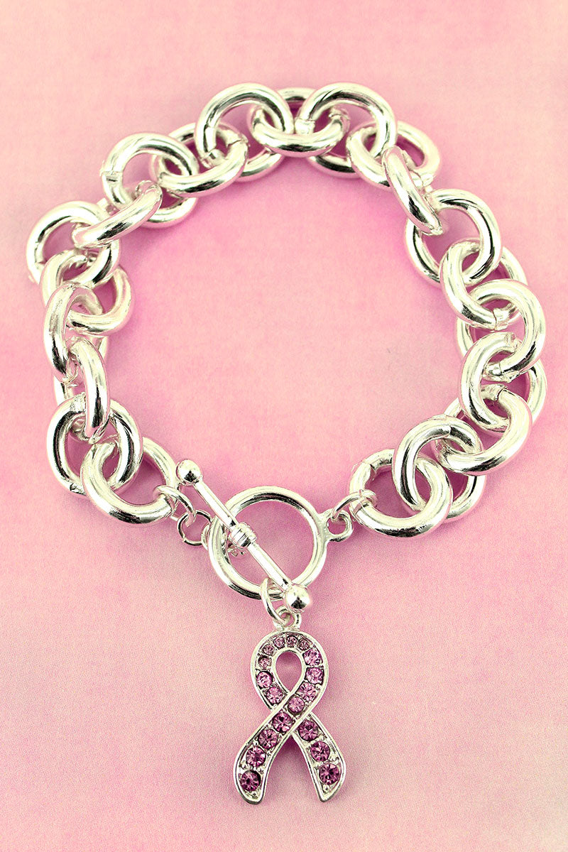 Pink Crystal Accented Ribbon Charm Silvertone Chain Toggle Bracelet