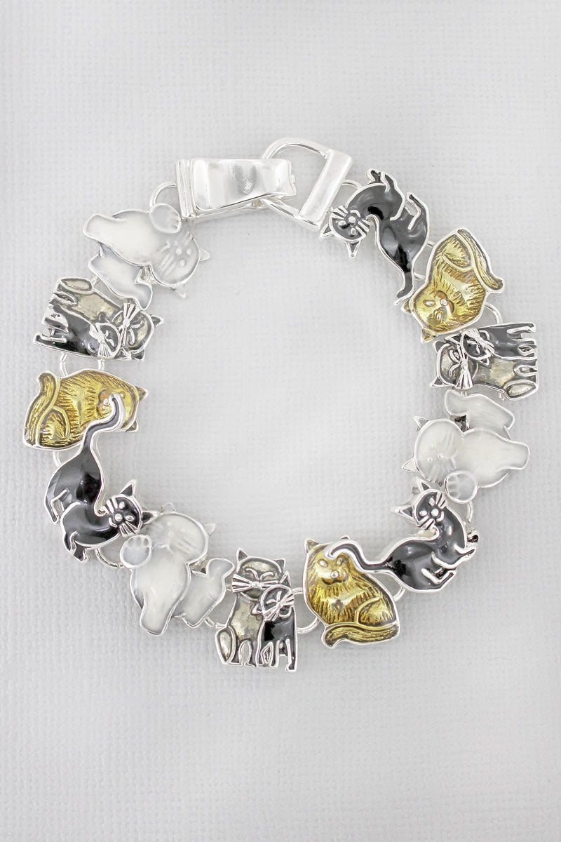 Black, White, and Gold Cat Magnetic Bracelet