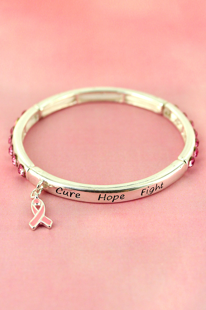 Pink Crystal Accented Silvertone 'Cure Hope Fight' Pink Ribbon Stretch Bracelet