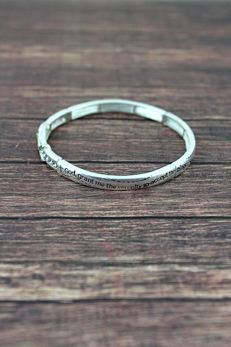 Two-Tone with Crystals 'Serenity Prayer' Stretch Bangle