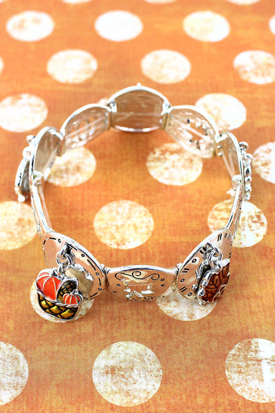 Fall Themed Silvertone with Enamel Charms Stretch Bracelet