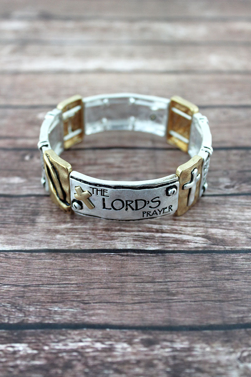 Burnished Two-Tone 'The Lord's Prayer' Stretch Bracelet