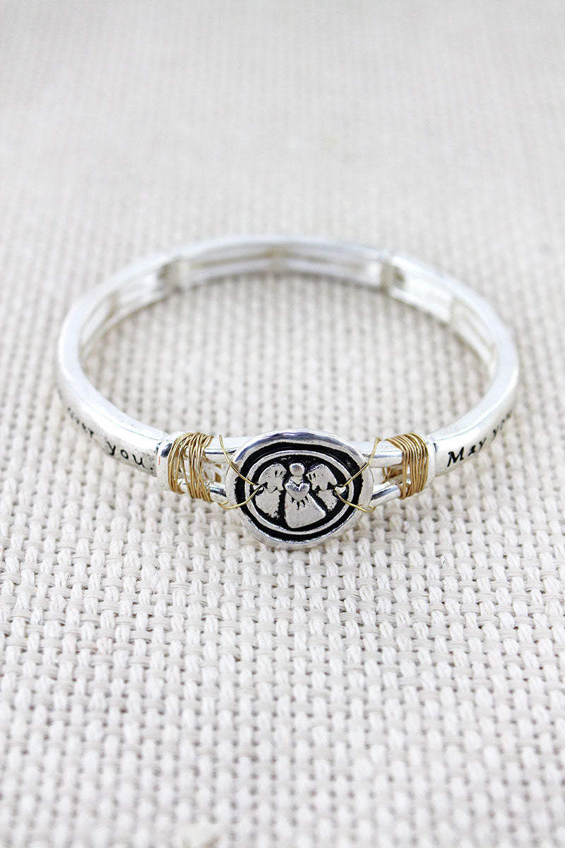 Two-Tone Wired Wrapped Angel Blessing Disk Stretch Bangle