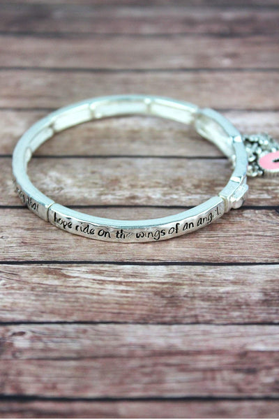 Pink Ribbon 'Inspire Hope' Silvertone Stretch Bangle with Charms