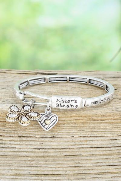 Burnished Two-Tone 'Sister's Blessing' Stretch Bracelet with Charms #AB8146-TT