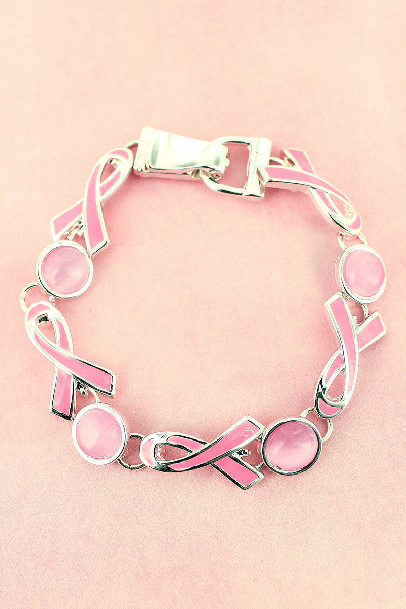 Pink Ribbon and Cat's Eye Stone Magnetic Bracelet