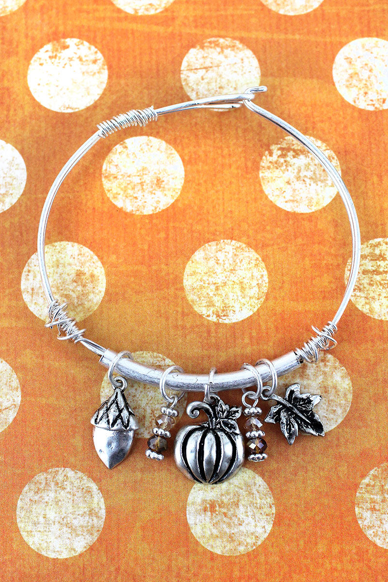 Worn Silvertone Fall Themed Charm Bangle Bracelet
