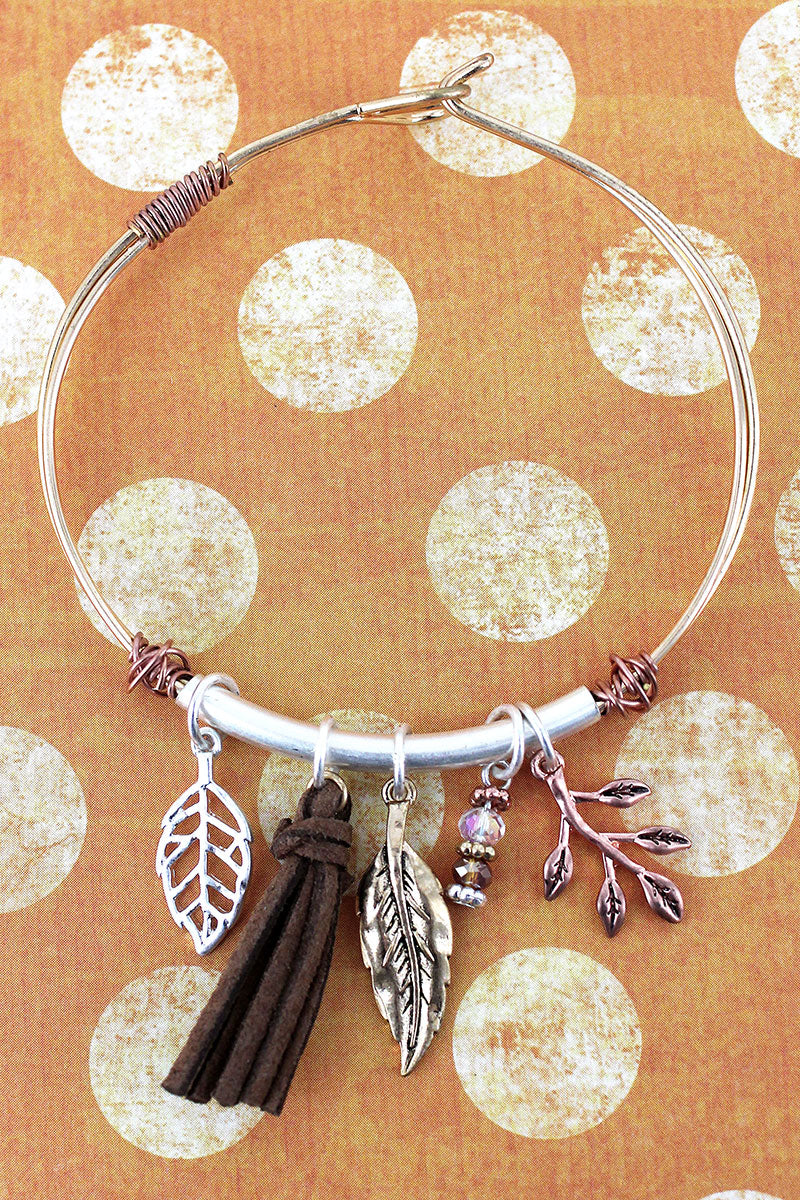 Worn Tri-Tone Leaf and Tassel Charm Bangle Bracelet