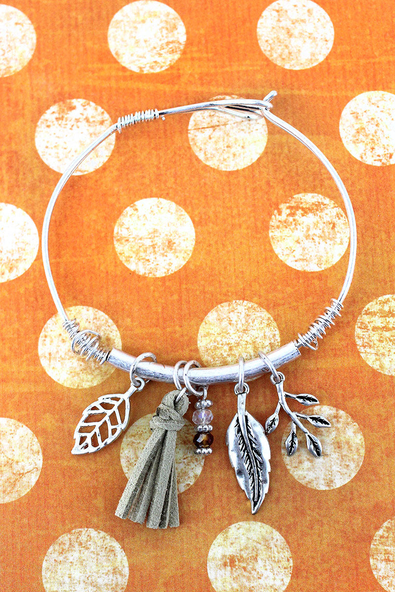 Worn Silvertone Leaf and Tassel Charm Bangle Bracelet