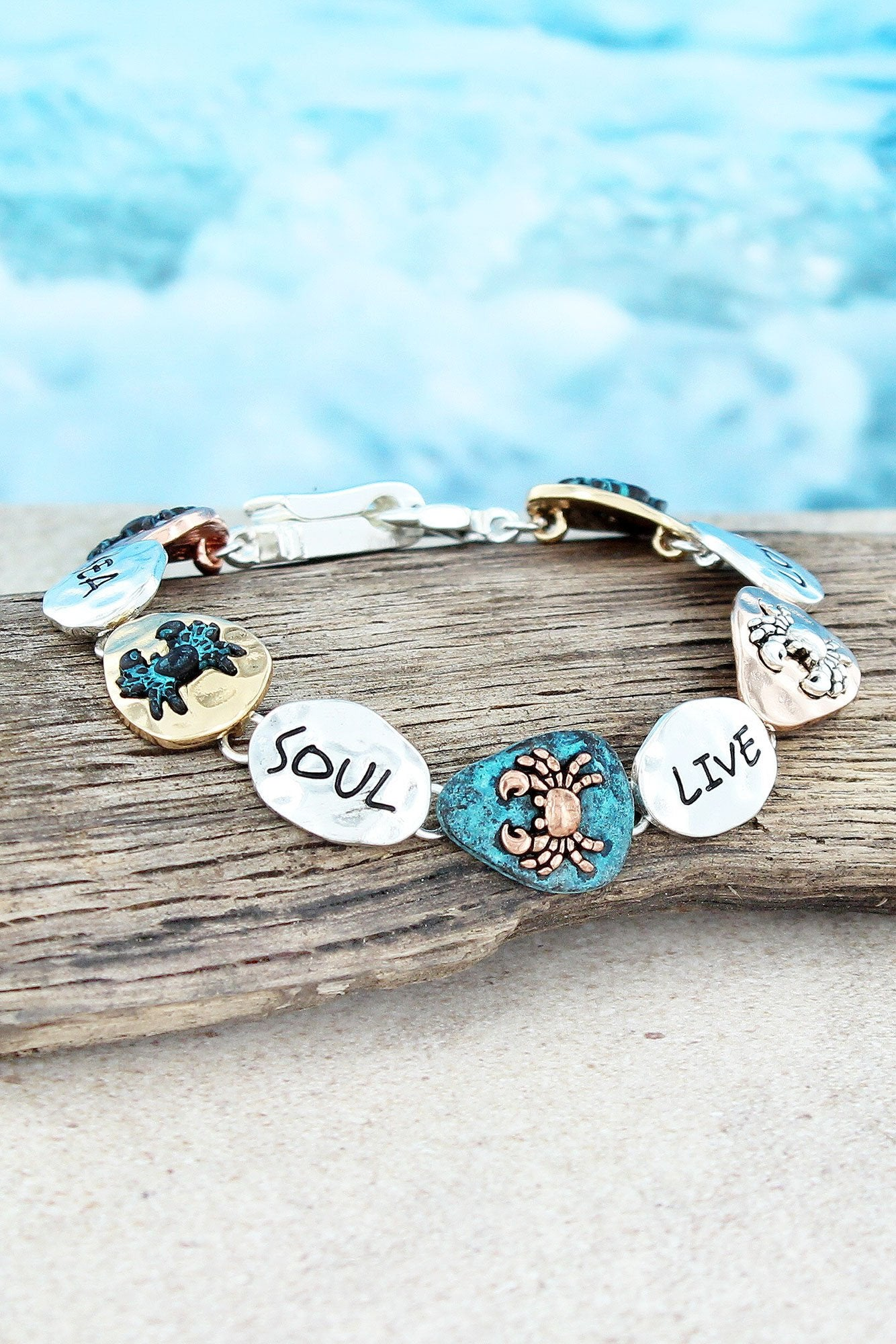 Tri-Tone and Patina 'Sea Soul Live Love' Crab Magnetic Bracelet #AB8514-4T