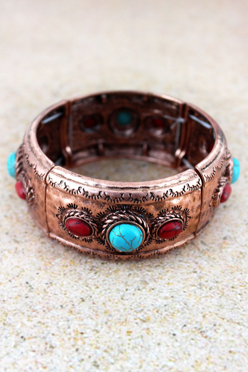 Western Beaded Burnished Coppertone Stretch Bracelet