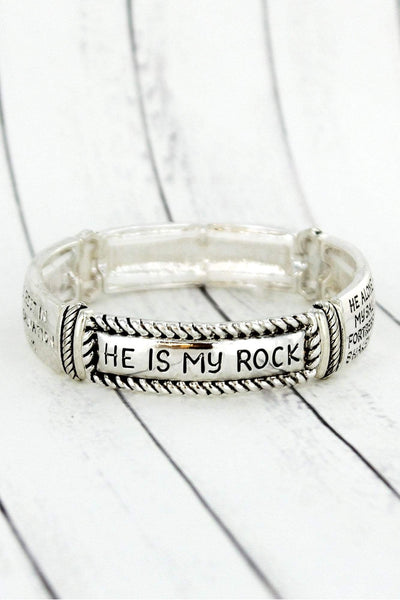 Burnished Silvertone Tri-Tone Psalm 62:1-2 Stretch Bracelet
