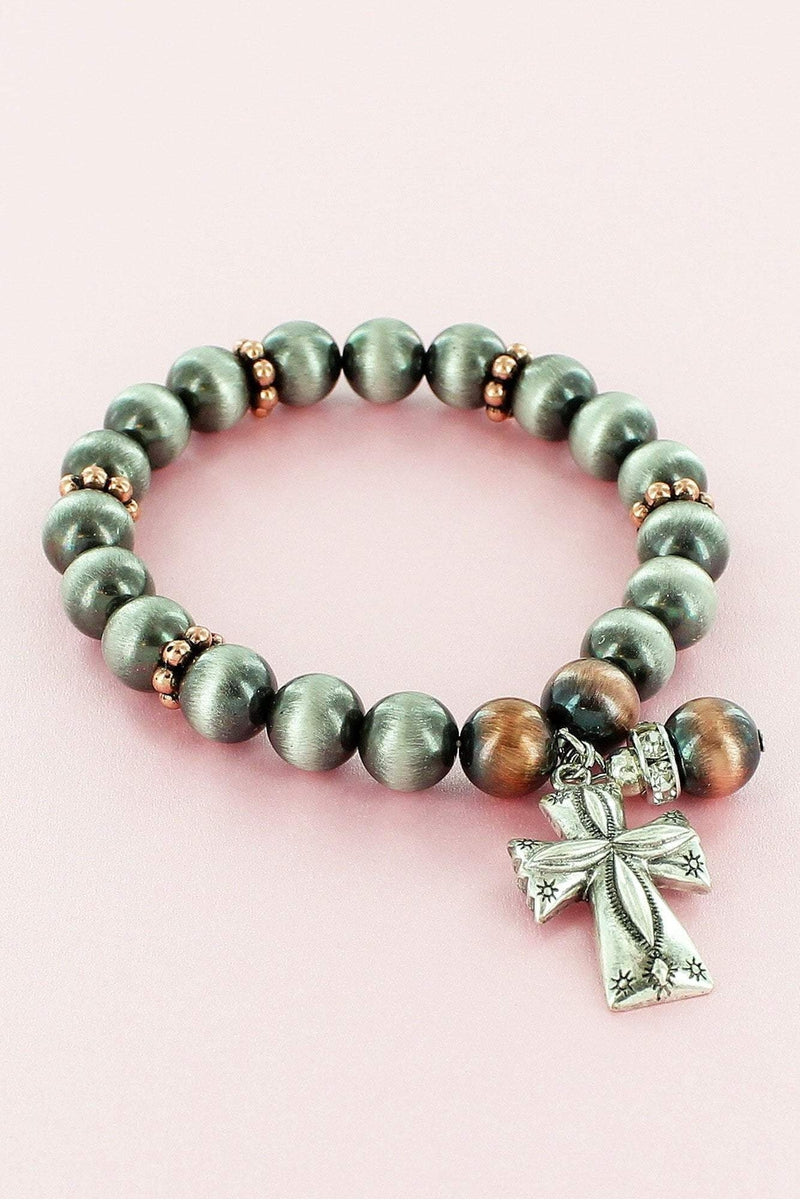 Silver and Copper Navajo Pearl Cross Charm Stretch Bracelet #AB8673-TT