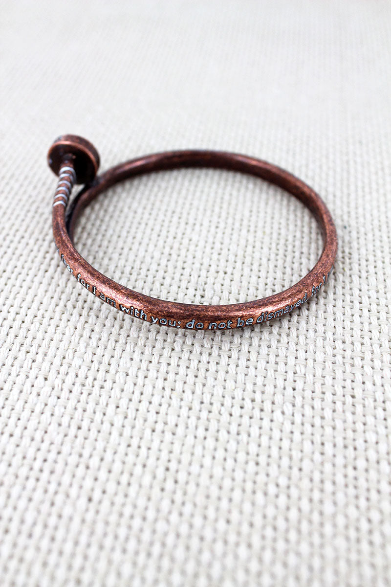 Burnished Coppertone with White Patina Isaiah 41:10 Nail Bangle