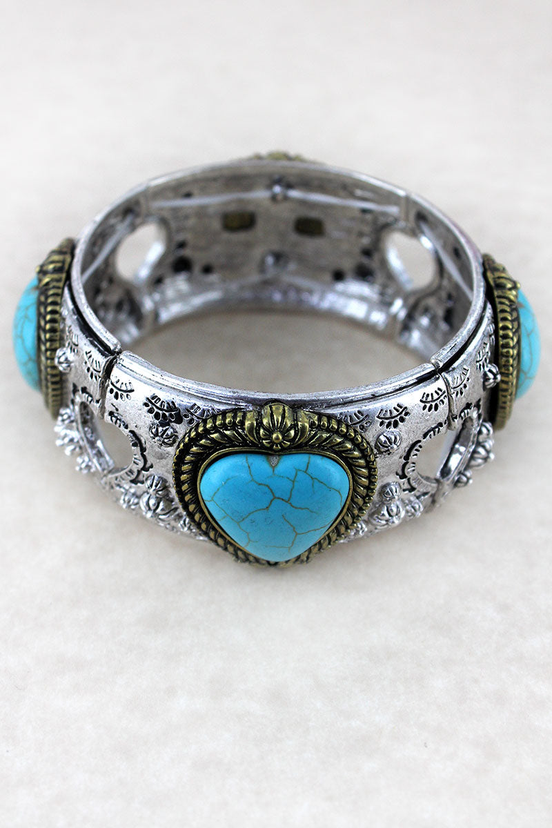 Turquoise Heart Burnished Two-Tone Stretch Bracelet