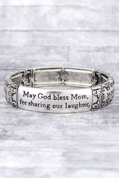 Burnished Silvertone 'Mom's Blessing' Stretch Bracelet