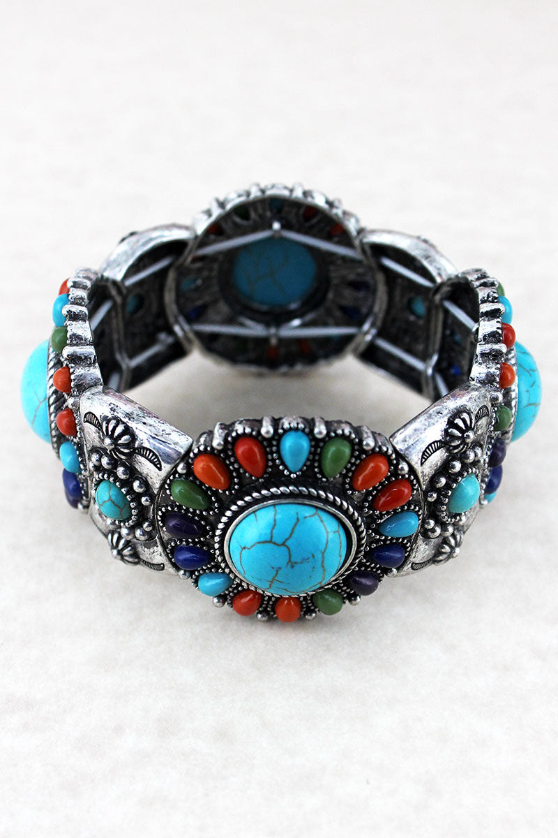 Western Multi-Color Beaded Silvertone Disk Stretch Bracelet