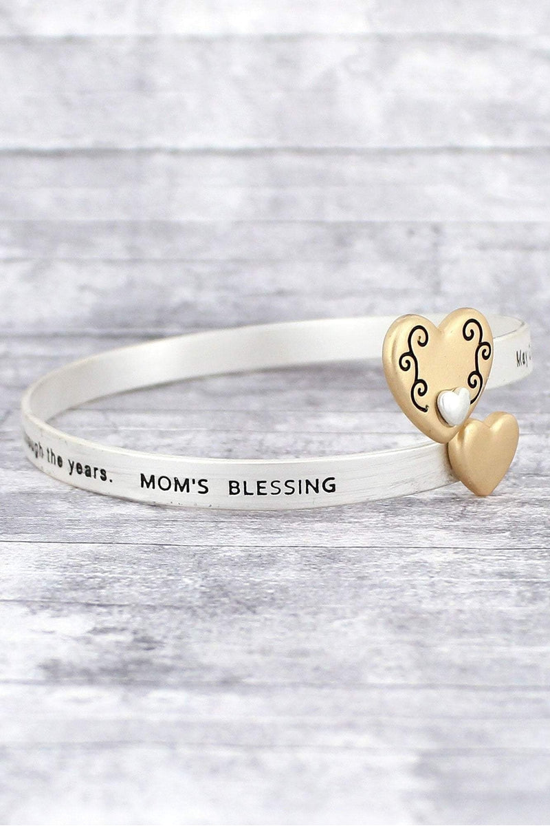 Matte Two-Tone 'Mom's Blessing' Double Heart Bangle