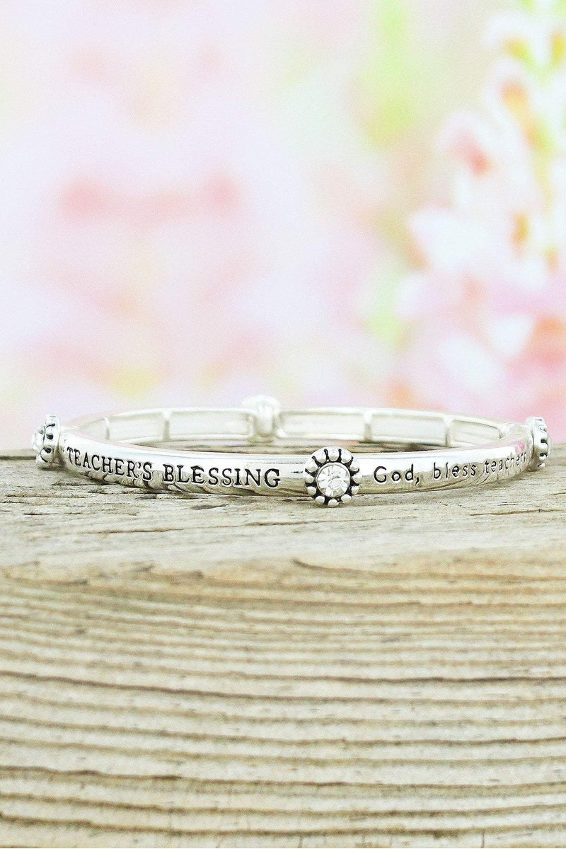Silvertone and Crystal 'Teacher's Blessing' Stretch Bracelet