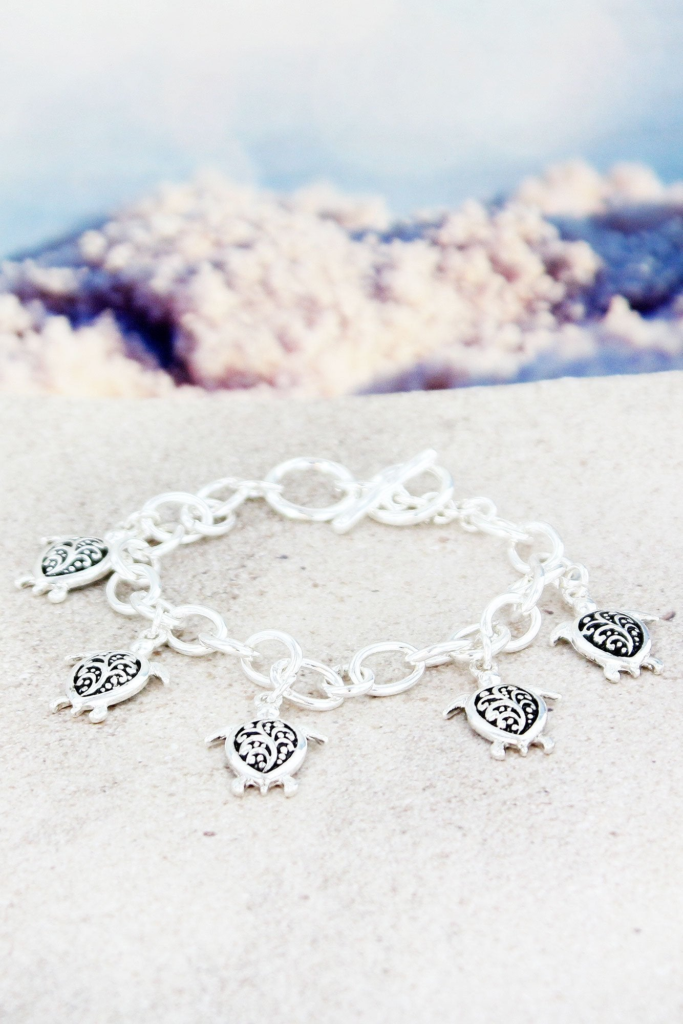 SALE! Silvertone Scroll Turtle Charm Toggle Bracelet