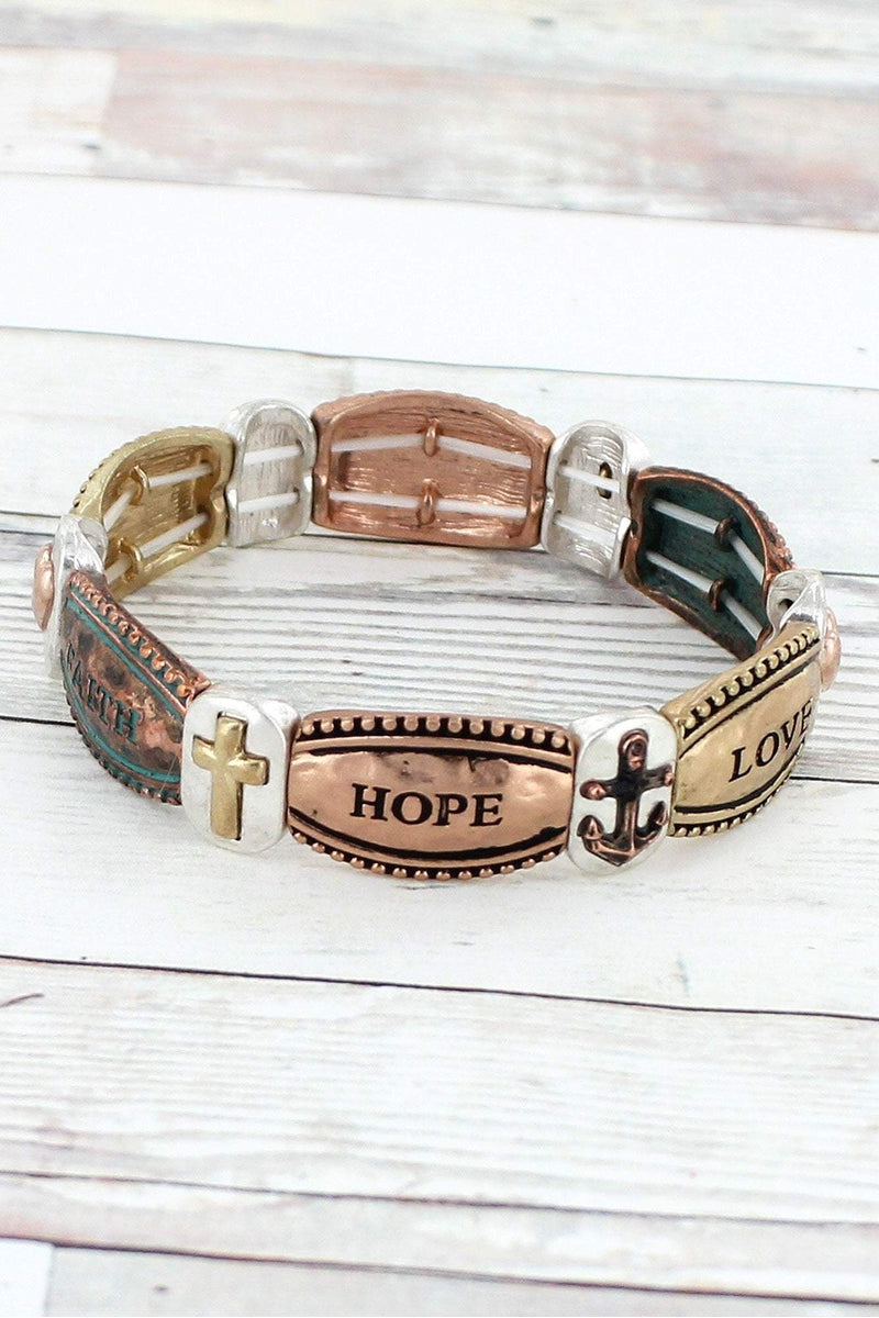 Tri-Tone and Patina 'Faith Hope Love' Stretch Bracelet