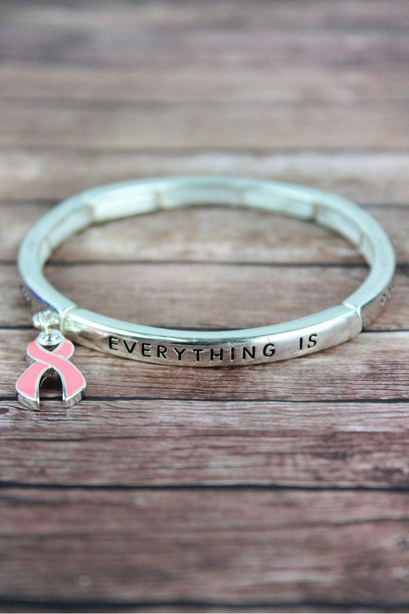 Pink Ribbon 'Everything is Possible' Silvertone Bracelet