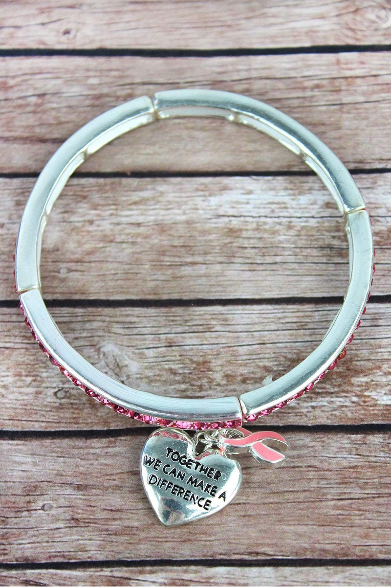Pink Crystal Silvertone Bracelet with Pink Ribbon Charms