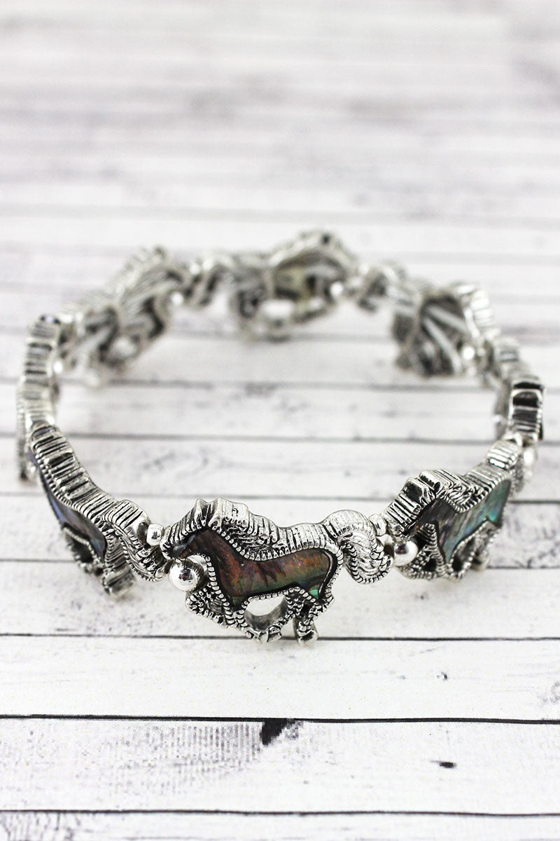 Abalone and Textured Silvertone Horse Stretch Bracelet