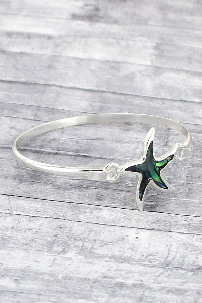 Silvertone and Abalone Starfish Bangle